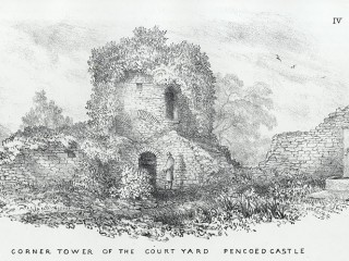 Pencoed Castle. A water pump is visable to the right of the picture and a man is tanding near the castle walls. 1864